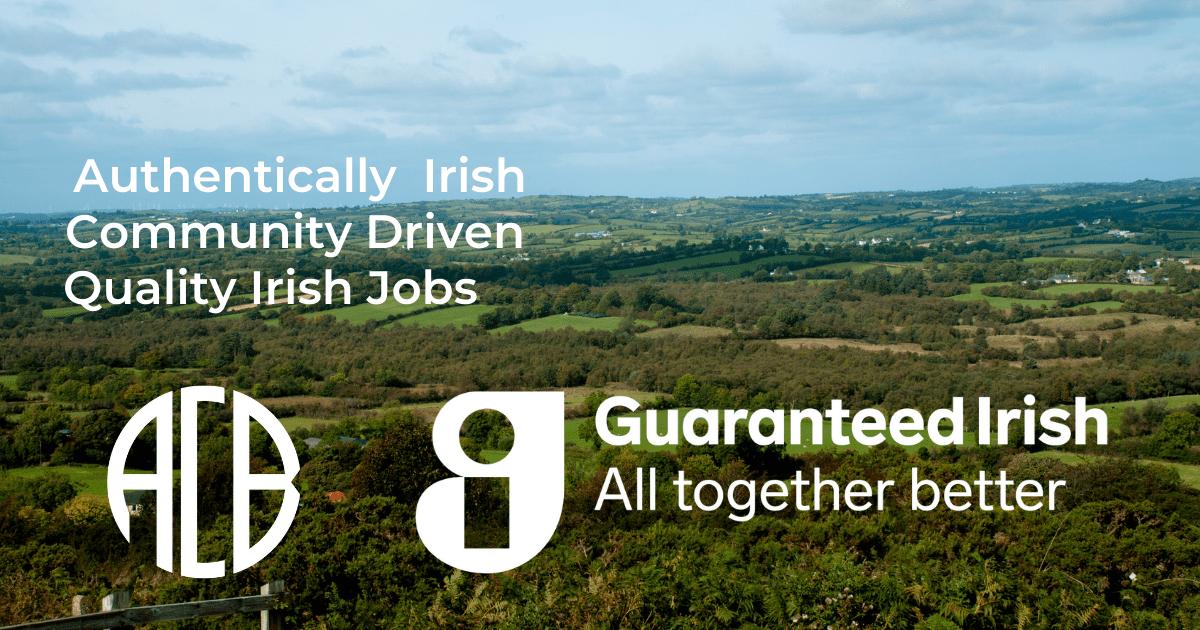 Irish Countryside with Guaranteed Irish and ACB Logo
